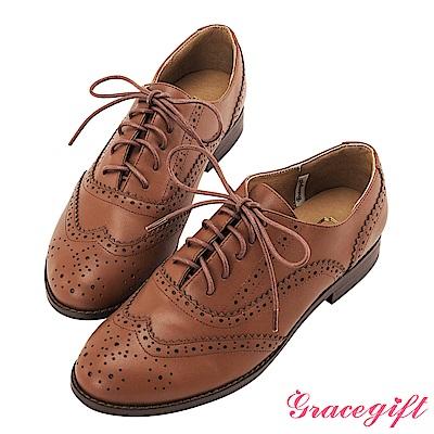Grace gift-全真皮經典雕花綁帶牛津鞋 淺棕