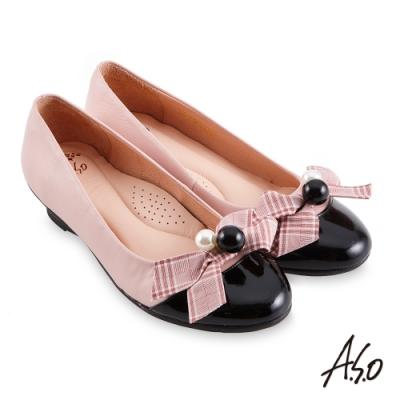 A.S.O 職場通勤 健步通勤甜美飾扣娃娃鞋-粉紅