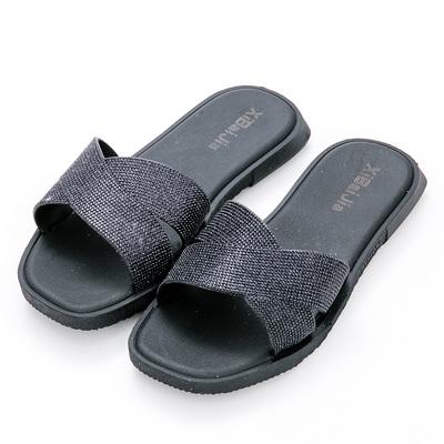 River&Moon防水鞋-交叉亮蔥Q軟方頭涼拖鞋-黑
