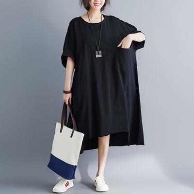 米蘭精品 連身裙短袖洋裝-純色寬鬆不規則棉麻女裙子2色73xz33