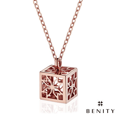 BENITY 記憶寶盒 IP玫瑰金 抗敏白鋼/西德鋼 女款項鍊