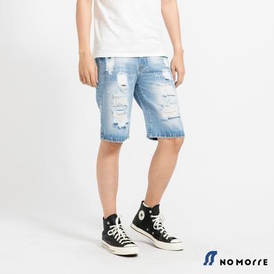 NoMorre 經典水洗破壞丹寧短褲-淺藍色