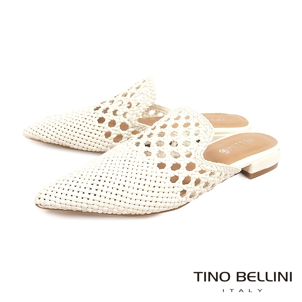 Tino Bellini渡假氛圍編織鏤空穆勒鞋_白