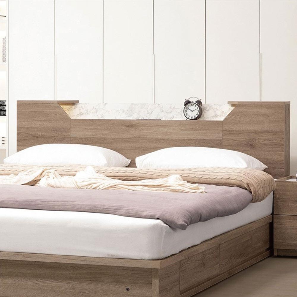 文創集 托爾  現代5尺夜燈&插座雙人床頭片(不含床底+不含床墊)-151.5x12x91cm免組