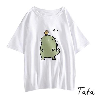 小恐龍印花T恤上衣 TATA
