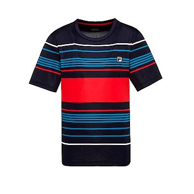 FILA 男款抗UV吸濕排汗T恤-丈青 1TET-1001-NV