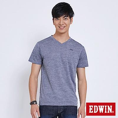 EDWIN 涼感V領LOGO印花T恤-男-丈青