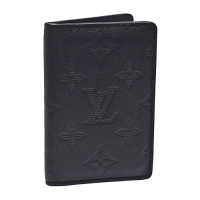 LV M62899經典Monogram Shadow小牛皮交叉式萬用卡夾(黑)