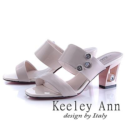Keeley Ann 漆皮質感~俐落個性金屬飾釦真皮粗跟拖鞋(粉紅色-Ann)