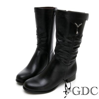 GDC-真皮抓皺水滴扣經典素色基本秋冬中筒靴-黑色