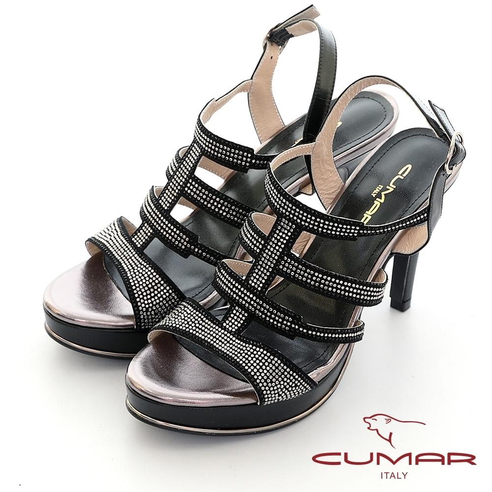 【CUMAR】鏤空鑽飾防水台高跟涼鞋-黑色