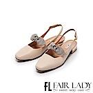 Fair Lady Hi Spring 格紋蝴蝶結瑪莉珍方頭低跟涼鞋 米