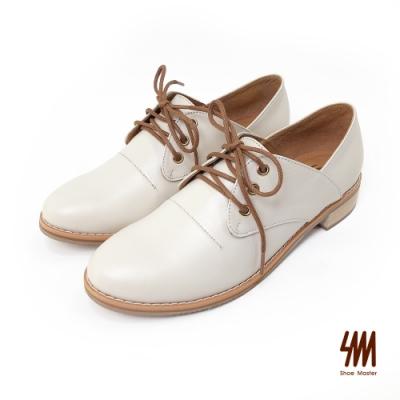 SM-帥氣復古系列-英倫經典素面擦色小羊皮紳士鞋-白色(兩色)