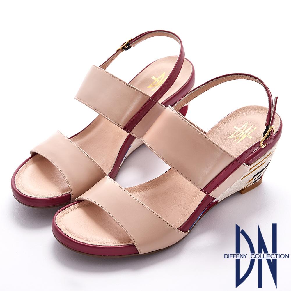 DN 春夏首選 MIT真皮撞色幾何線條楔型涼鞋-粉