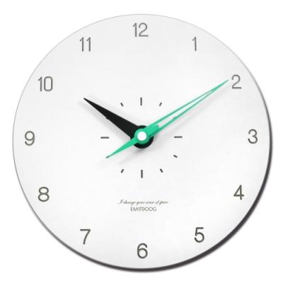 12吋 數字時標 居家擺飾 輕薄簡約 北歐 無印風 餐廳客廳臥室 靜音 圓掛鐘 - 白綠色
