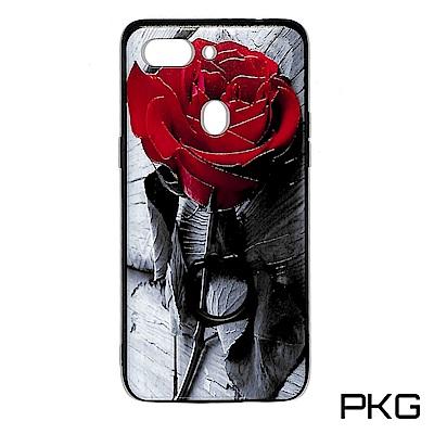PKG OPPO R15PRO 保護殼-浮雕彩繪-指環立架-玫瑰