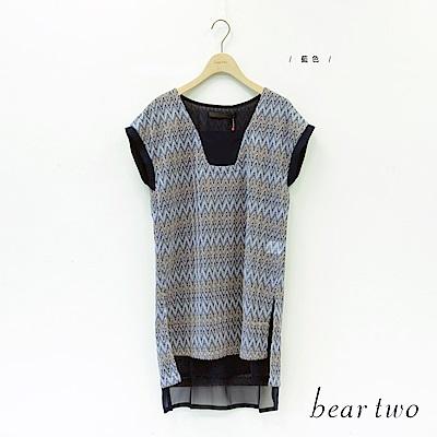 beartwo 幾何甜美網紗拼接長版上衣(藍色)