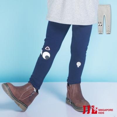 JJLKIDS 眼睛造型印花內刷毛保暖內搭褲(2色)
