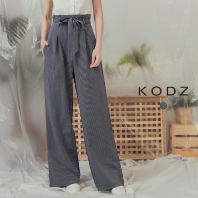 東京著衣-KODZ 簡約俐落直線條紋理高腰附綁帶寬褲-S.M.L