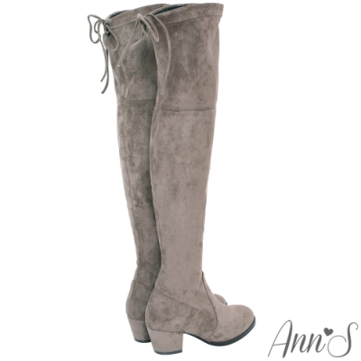 Ann'S 正常版-名模後蝴蝶結側拉鍊貼腿防水絨布過膝靴-可可