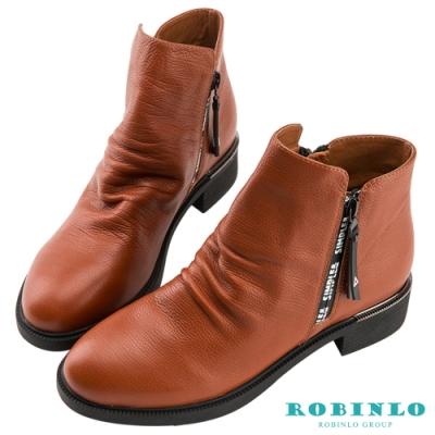 Robinlo 俐落感雙側拉鍊牛皮短靴 咖啡色