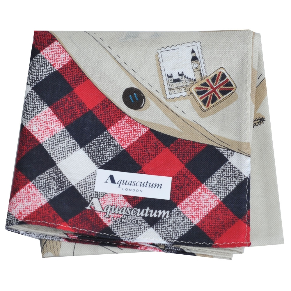 Aquascutum 經典品牌大格紋風衣圖騰帕領巾(紅格/卡其底)