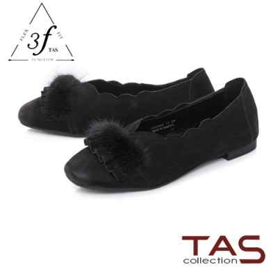 TAS兔毛拼接波浪荷滾邊羊皮娃娃鞋-質感黑