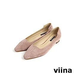 viina Basic 素面尖頭特殊剪裁低跟鞋 - 粉