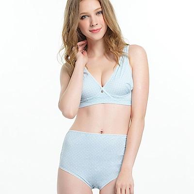 (任選成套)奇妮-哺乳內衣 舒壓交叉款(粉藍)