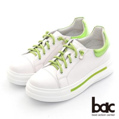 【bac】拼色彈力鞋帶厚底休閒鞋-綠