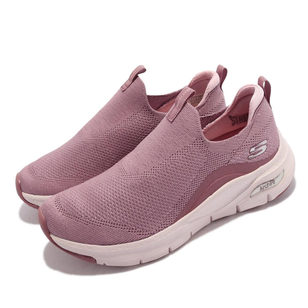 Skechers 休閒鞋 Arch Fit Keep It Up 女鞋 戶外踏青 專利鞋墊 避震 緩衝 回彈 粉 白 149415-MVE