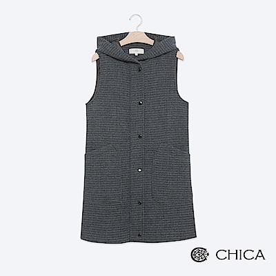 CHICA 率性優雅羊毛連帽背心外套(1色)