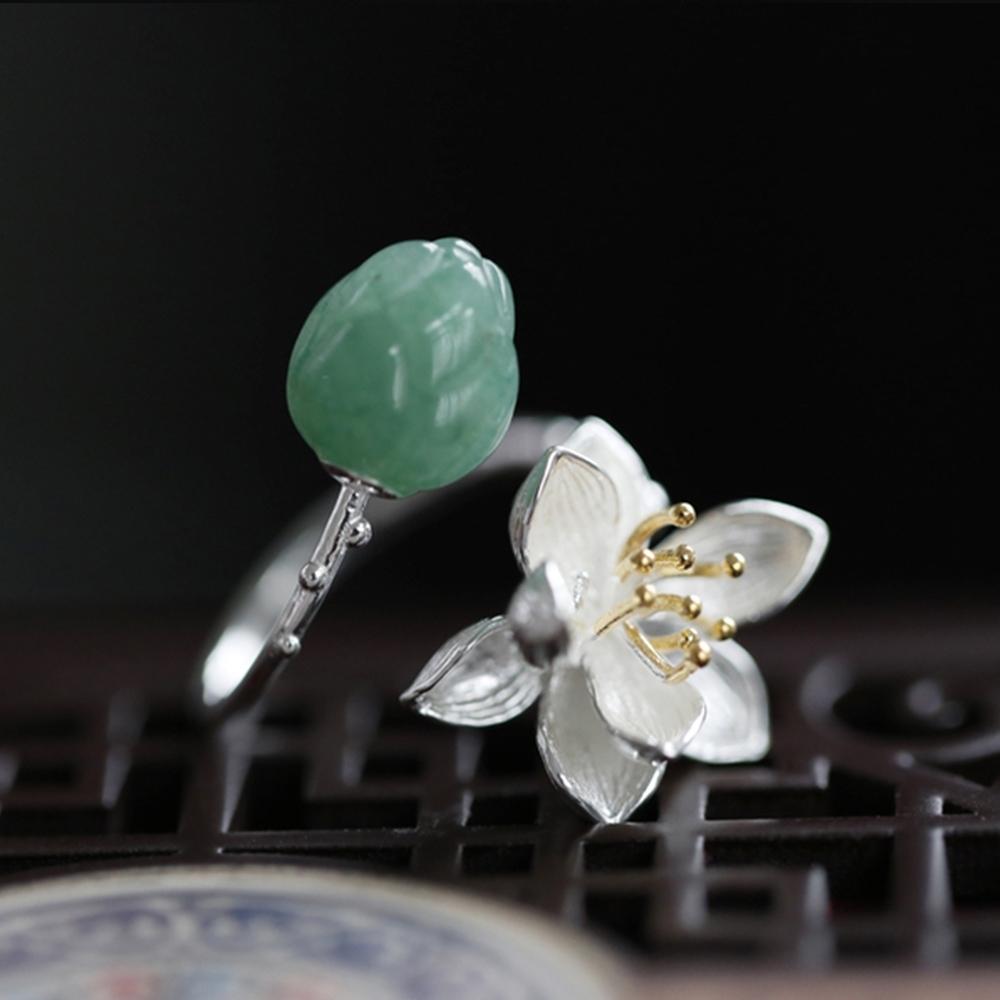 東方美學素銀東陵玉粉晶925純銀立體蓮花戒指-設計所在 product image 1