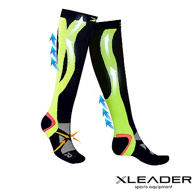 LEADER 加強漸進式運動長筒壓縮襪 腿套壓力襪 一雙入 黑綠 - 急