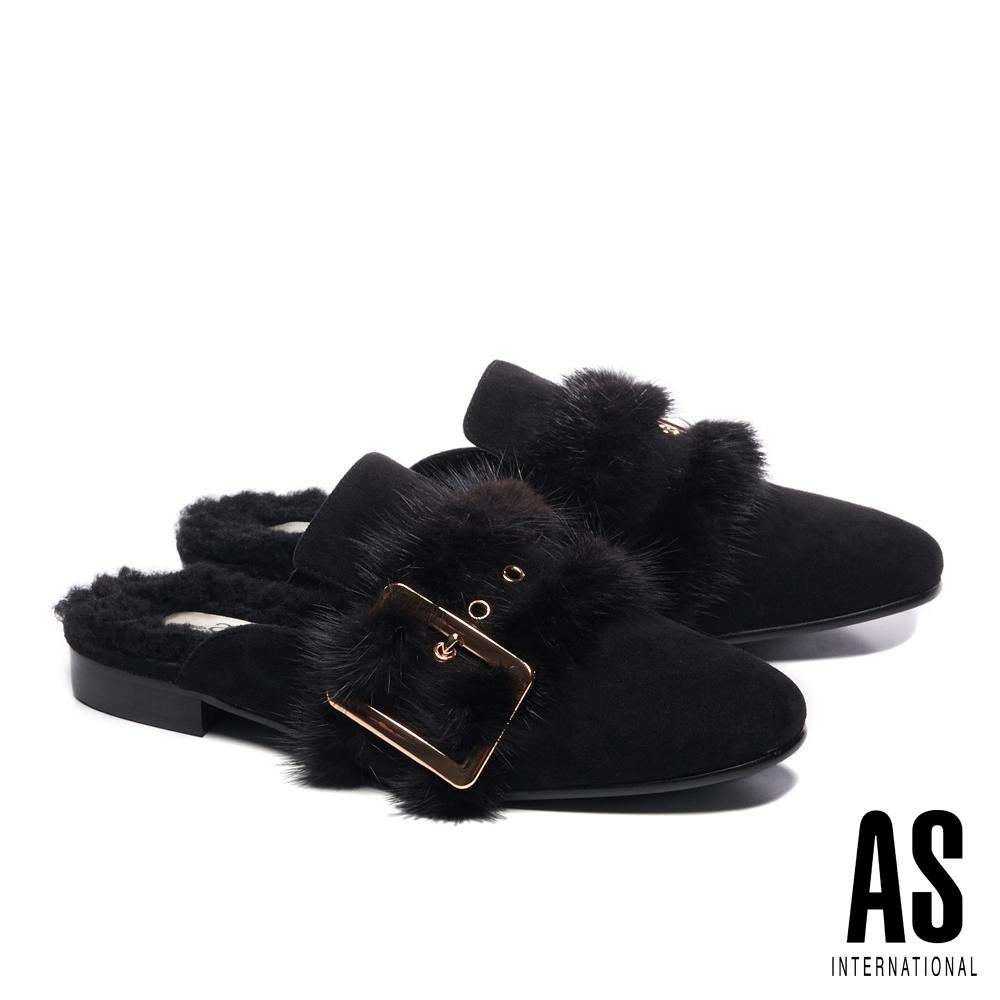穆勒鞋 AS 時髦奢華感水貂毛皮帶全真皮低跟穆勒拖鞋-黑