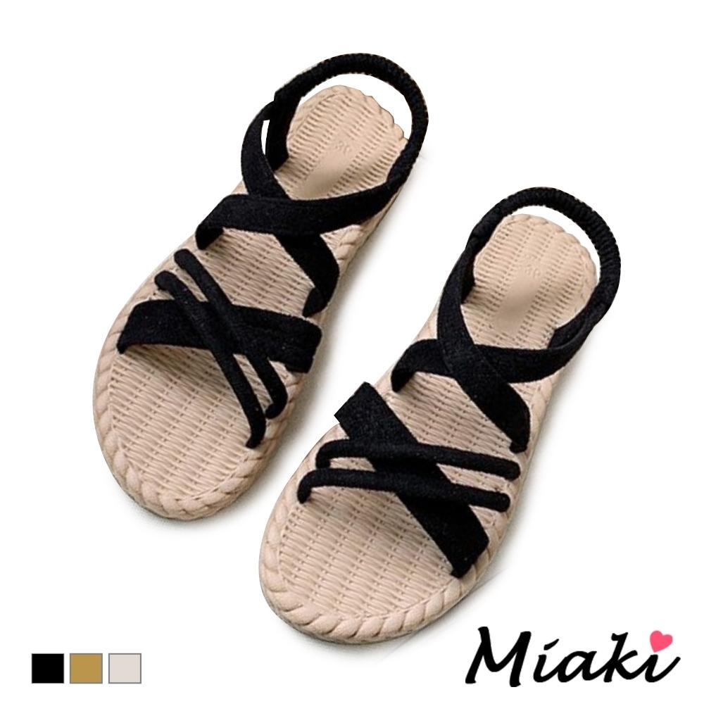 Miaki-涼鞋南洋編織平底涼拖女鞋-黑