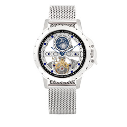 Manlike 曼莉萊克 藍寶石單橋鏤空雕花機械腕錶【銀色/米蘭/黑面】