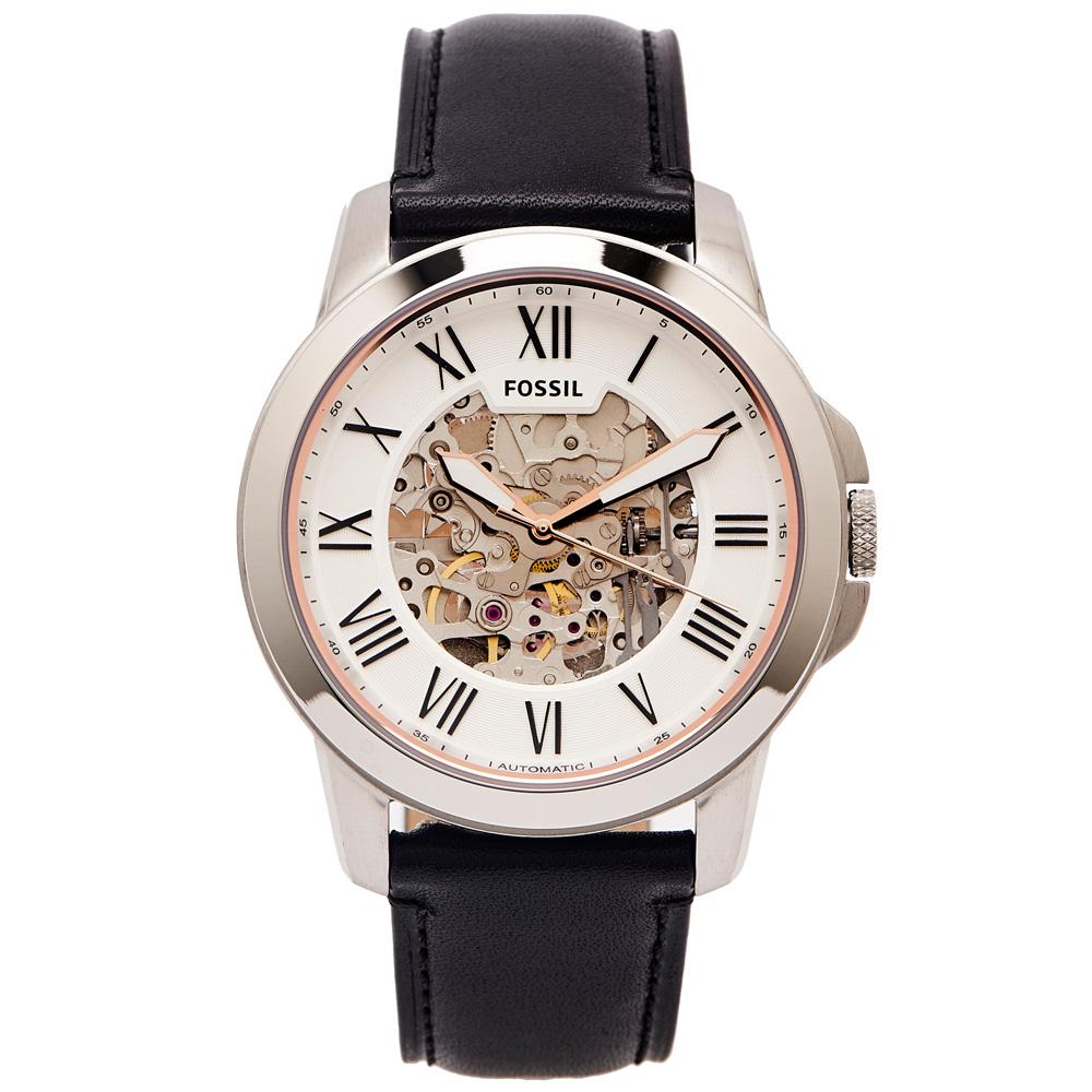 FOSSIL 簍空設計款圓弧鏡面的機械手錶(ME3101)-白面/44mm