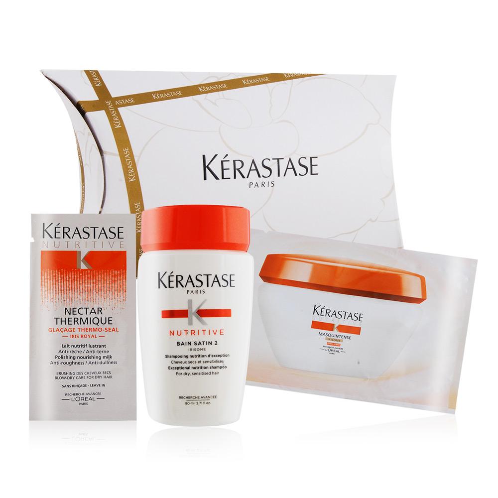 (即期品)KERASTASE 皇家鳶尾滋養3步驟隨行組[髮浴+髮膜+精華]期效201912