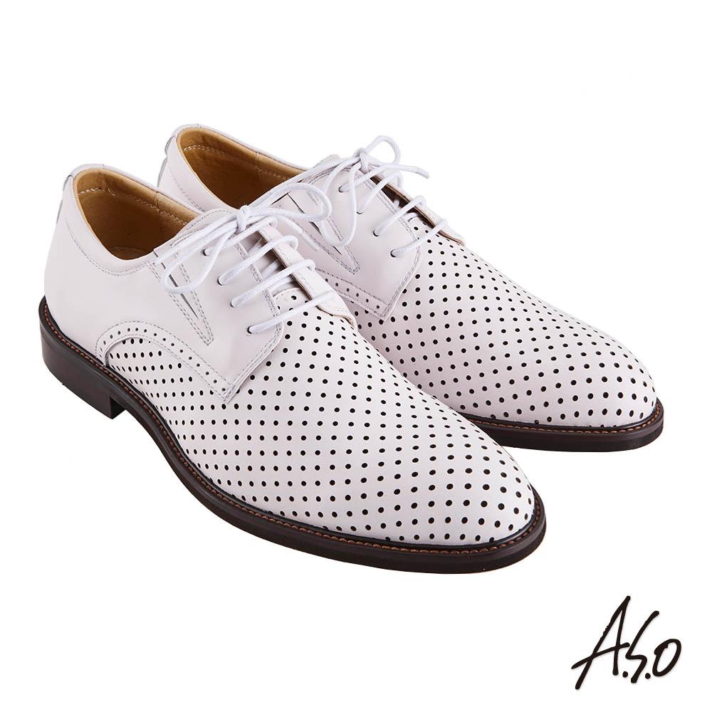 A.S.O職場通勤 職人通勤刷色沖孔德比紳士鞋-白