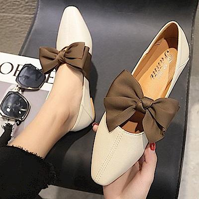 KEITH-WILL時尚鞋館 破盤價可愛蝴蝶結厚底跟鞋-米白色