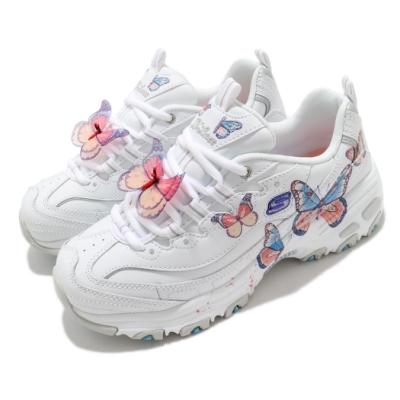 Skechers 休閒鞋 D Lites 老爹鞋 厚底 增高 女鞋 蝴蝶可拆 皮革鞋面 修飾 記憶型泡棉鞋墊 白 藍 149233WLV