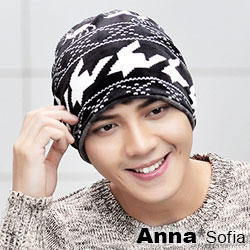 AnnaSofia 旋織中空 加厚絨毛多ways口罩圍脖毛帽(麋鹿-黑系)