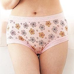 內褲 滿滿花朵100%蠶絲中高腰內褲 (淺粉) Chlansilk 闕蘭絹