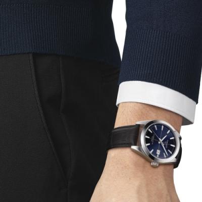 TISSOT 天梭 GENTLEMAN 經典紳士機械錶(T1274071604101)藍/40mm