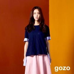 gozo 立體提花異材質拼接上衣(深藍)