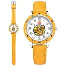 Disney 迪士尼 獅子王 辛巴面板 兒童錶 卡通錶 紋路皮革手錶-白x鵝黃/32mm