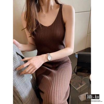 JILLI-KO 針織坑條背心連身裙- 咖/杏