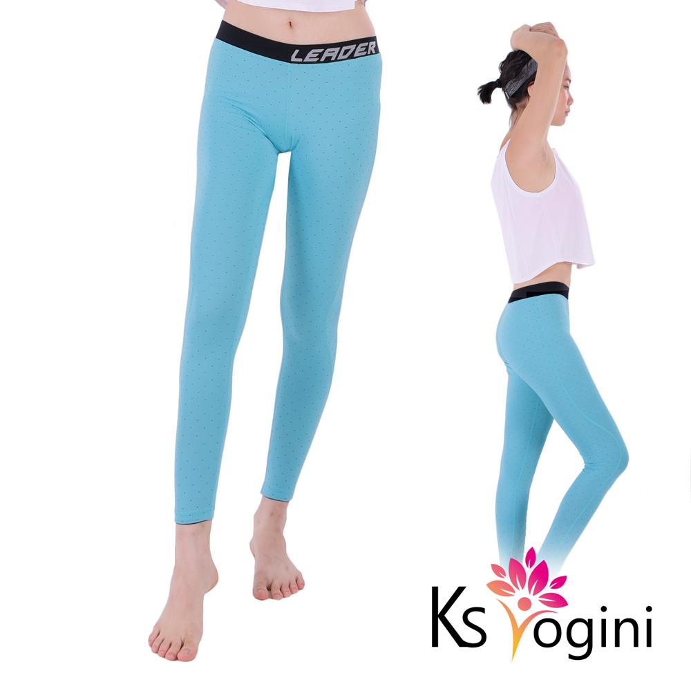 KS yogini 點點反光印 彈力修身運動褲 瑜珈褲 藍底小圓點