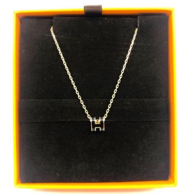 HERMES 經典MINI Pop H立體簍空橢圓LOGO項鍊(黑X玫瑰金)(粉X玫瑰金)